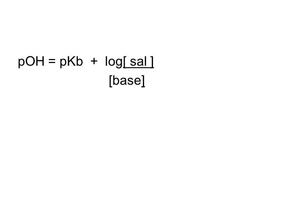 pOH = pKb + log[ sal ] [base]